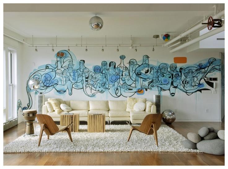 Muurdecoratie woonkamer - De Huiskunstenaar