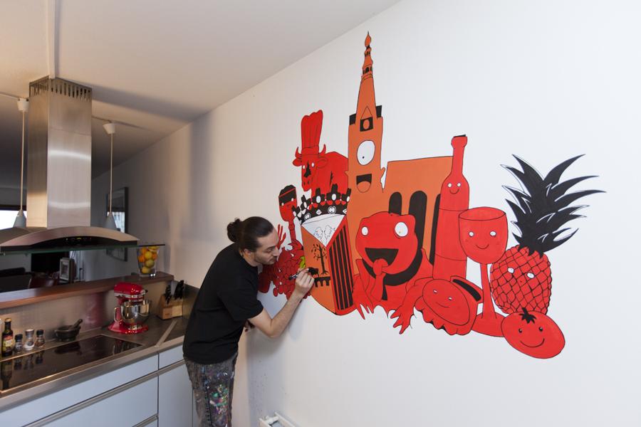 Muurschildering Leon Römer